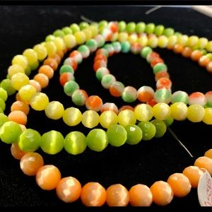 Cateye glass beads faceted smooth jewelry making